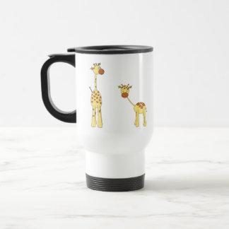 Adult and Baby Giraffe. Cartoon Stainless Steel Travel Mug