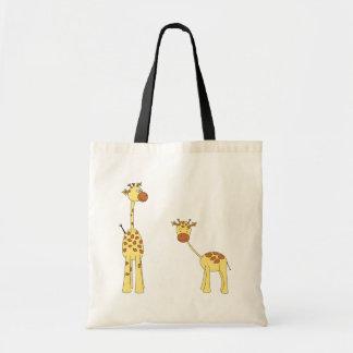 Adult and Baby Giraffe. Cartoon Tote Bag