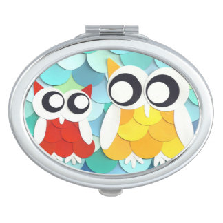 Adult and Little Owl Vanity Mirror