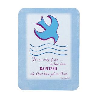 Adult Baptism Dove on Blue Rectangular Photo Magnet