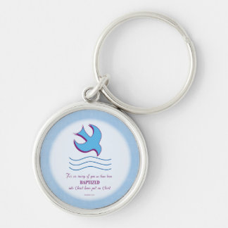 Adult Baptism Dove on Blue Silver-Colored Round Key Ring