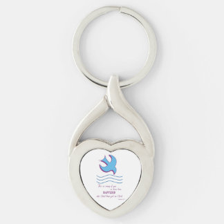 Adult Baptism Dove on Blue Silver-Colored Twisted Heart Key Ring