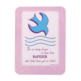 Adult Baptism Dove on Pink Rectangular Photo Magnet
