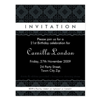 ADULT BIRTHDAY INVITATION ornately patterned L3 Post Cards