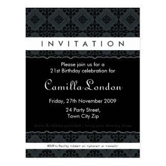 ADULT BIRTHDAY INVITATION :: ornately patterned L3 Postcard