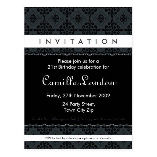 ADULT BIRTHDAY INVITATION :: ornately patterned L3 Post Cards