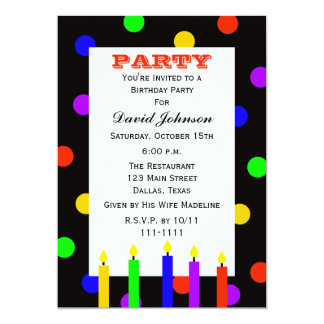Adult Birthday Party Colorful Candles Card