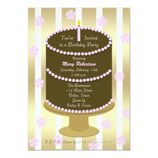 Adult Birthday Party Pink Cake with Stripes Card