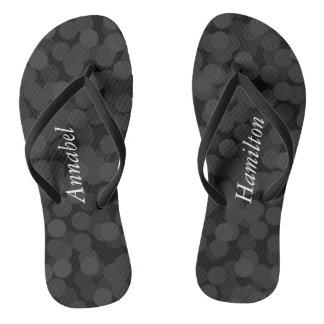 Adult  Black Bubbles Flip Flops w/ your Name