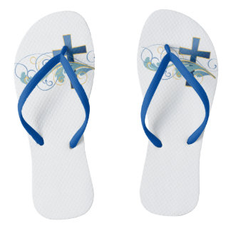 Adult, Blue Cross Slim Straps Thongs
