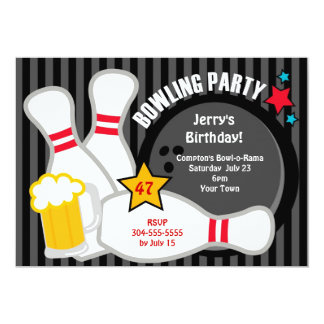 Adult Bowling Party Card