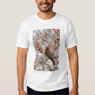 Adult Cedar Waxwing on hawthorn with snow, Tee Shirts