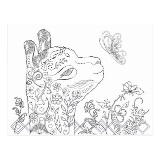 Adult Coloring Alpaca Butterfly DIY Postcards