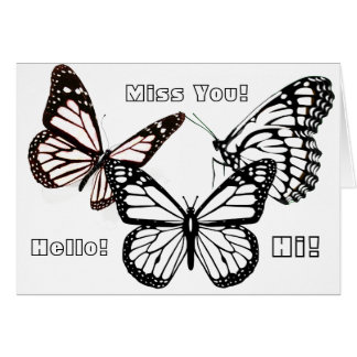 """Adult Coloring Card: Butterflies and """"Miss You"""" Card"""