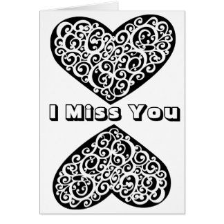 Adult Coloring Card: I Miss You with Hearts Card