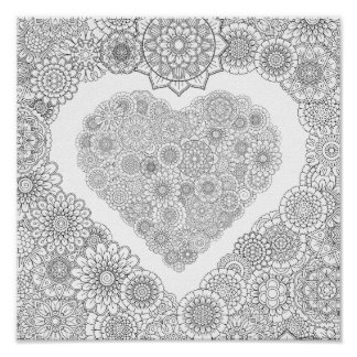 Adult Coloring Flower Heart Poster (Small)