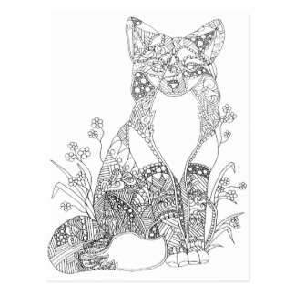 Adult Coloring Fox Animal Art Postcard