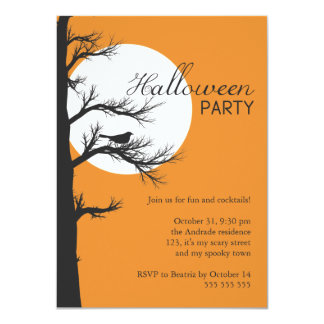 Adult Halloween Party Night Tree Silhouette Bird Card