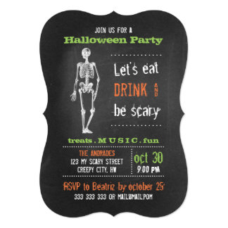 Adult Halloween Party Vintage Skeleton Chalkboard Card