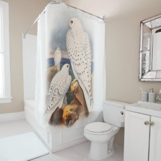 Adult Light Greenland Falcon Birds Great Britain Shower Curtain