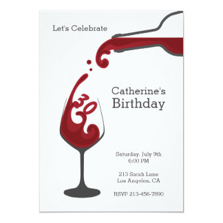 Adult Red Wine Modern Birthday Party Invitation