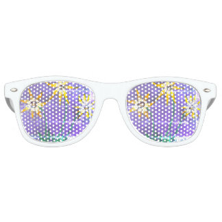 Adult Retro Party Shades, White Flowers Painting Retro Sunglasses