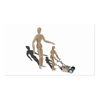 Adult supervise child pushing lawn mower pack of standard business cards