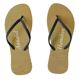 Adult Textured Gold Flip Flops w/ your Name