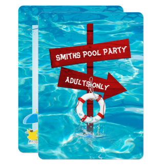 adults only swimming pool party card