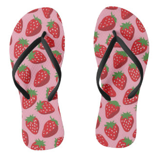 Adults pink strawberry custom straps, flip flops