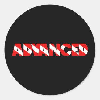 Advanced Diver Text Design Shirt Round Sticker