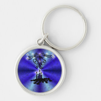 Advent, Christmas kind Deco on blue green Rainbow Silver-Colored Round Key Ring