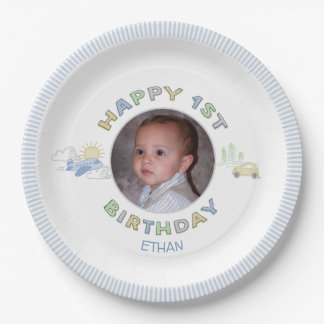 Adventure Awaits 1st Birthday Photo Personalised Paper Plate