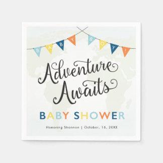 Adventure Awaits: Baby Boy Cocktail Napkins Disposable Serviette
