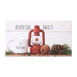 Adventure Awaits Customize Family Name Canvas Art