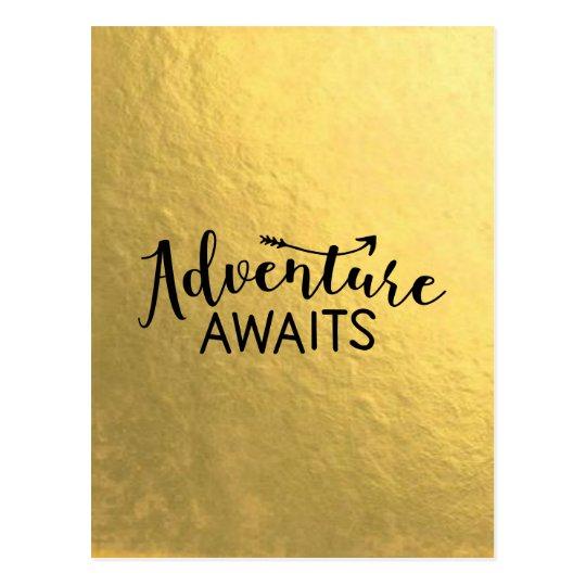 Adventure Awaits Gold Leaf Postcard