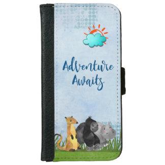 Adventure Awaits - Gorilla Hippo and Meerkat iPhone 6 Wallet Case