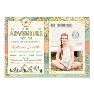 Adventure awaits Graduation invitation Travel Map