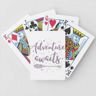 adventure awaits  in purple bicycle playing cards