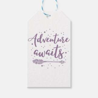 adventure awaits  in purple gift tags