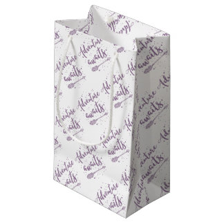 adventure awaits  in purple small gift bag