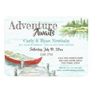 Adventure Awaits Lake and Canoe Baby Shower Card