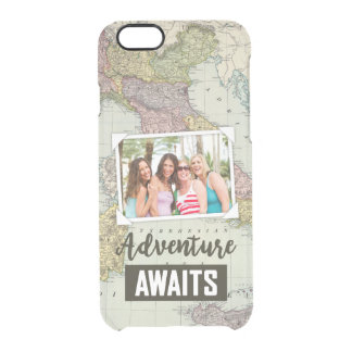 Adventure Awaits Map | Upload Your Own Photo Clear iPhone 6/6S Case
