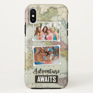 Adventure Awaits Map   Upload Your Own Photos iPhone X Case