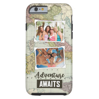 Adventure Awaits Map | Upload Your Own Photos Tough iPhone 6 Case