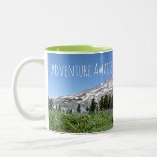 Adventure Awaits (Mount Rainier) Two-Tone Coffee Mug