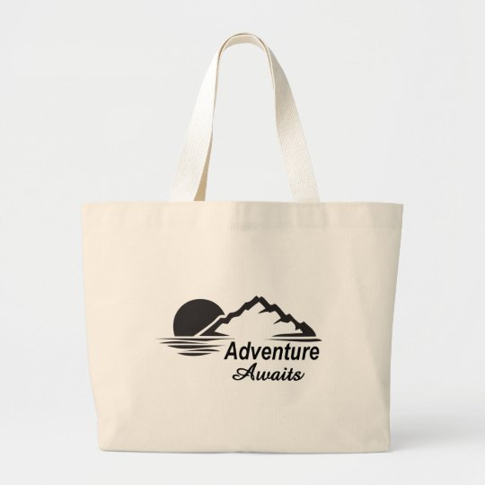 Adventure Awaits Nature Great Outdoors Large Tote Bag