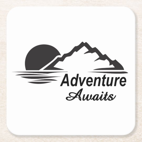 Adventure Awaits Nature Great Outdoors Square Paper Coaster