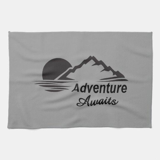 Adventure Awaits Nature Great Outdoors Tea Towel