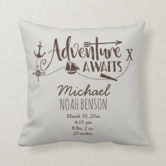 """Adventure Awaits"" Nautical Birth Stats Cushion"